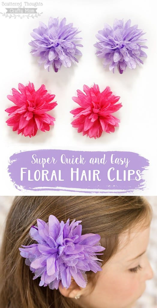 Make these super quick and easy flower hair clips!