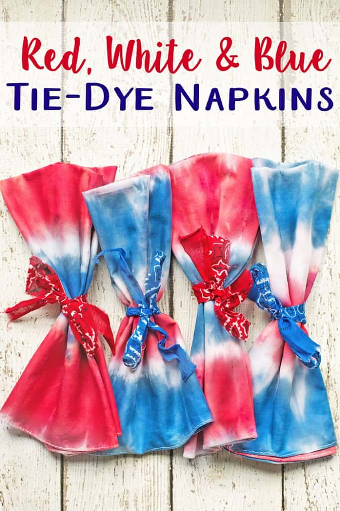 These simple red, white and blue, Tie Dye Napkins will dress up any patriotic themed table!  (Just use any premade napkin and you can tie dye them your self in minutes!)