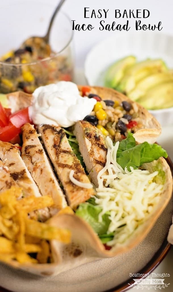 Easy Dinner idea: Baked Taco Salad Bowl. (Taco bowls take 10 minute to bake and make this salad rock!)