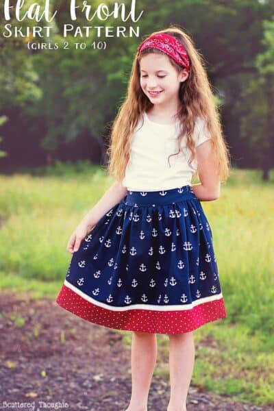 Red White and Blue Flat Front Skirt