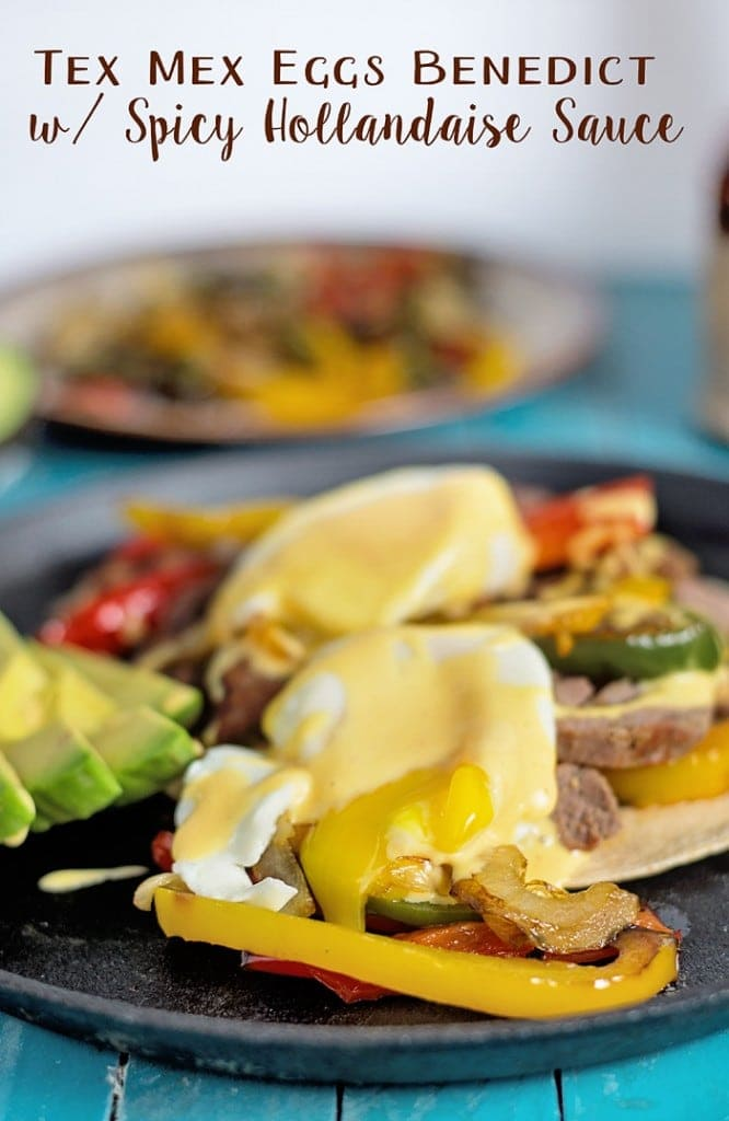 Yummy Tex-Mex Eggs Benedict with Spicy Hollandaise Sauce Recipe! Perfect for Father's day and it's easy to put together since it is made with leftover fajitas, the eggs are poached in the microwave and hollandaise sauce made in the blender!