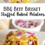 20 Minute Meal: BBQ Pulled Beef Brisket Stuffed Baked Potatoes.