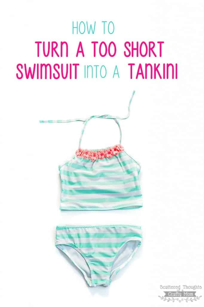 How to easily turn a too short swimsuit into a Tankini.