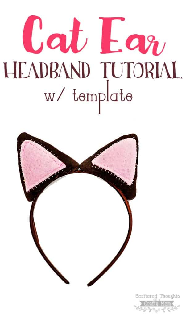 Make a Cat Ear Headband for your kitty fanatic with this tutorial and printable template!  Perfect for halloween or dress up anytime.
