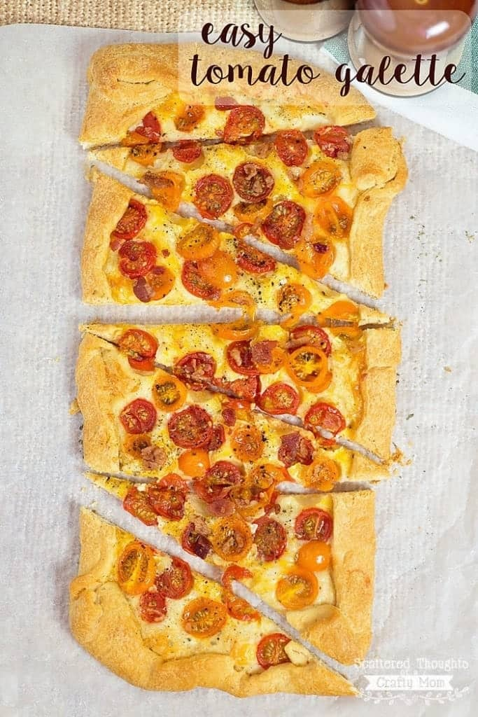 Easy Tomato Galette Recipe. Perfect as a light dinner or appetizer. (Plus it is simple to put together since it is made on a crescent roll crust!)