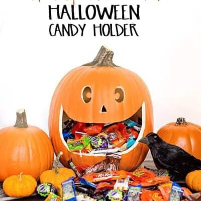 Make this easy DIY Halloween Pumpkin Candy Holder- from a carvable faux pumpkin, it's perfect to display and to hold all your Halloween candy!