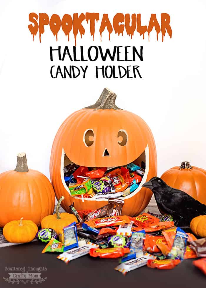 Easy Halloween Candy Holder and Display Made From a Carvable Pumpkin!