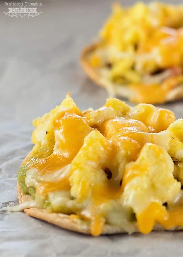 scrambled egg pizzas