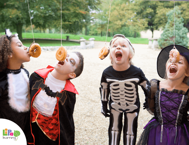 17+ Halloween Party Games for Kids (donut on a string)
