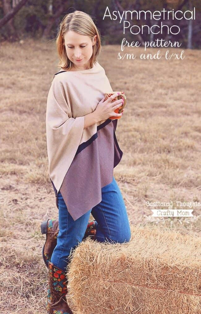 Looking for an easy sewing project for yourself? Stay warm this winter and make an Asymmetrical Poncho Sweater with this free Ladies printable pdf sewing pattern! (pattern sizes: s/m and l/xl)