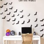 Bats on the Wall!  This free Paper Bat Template is a perfectly spooky Halloween decorating project that is perfect for parties or everyday Halloween fun!