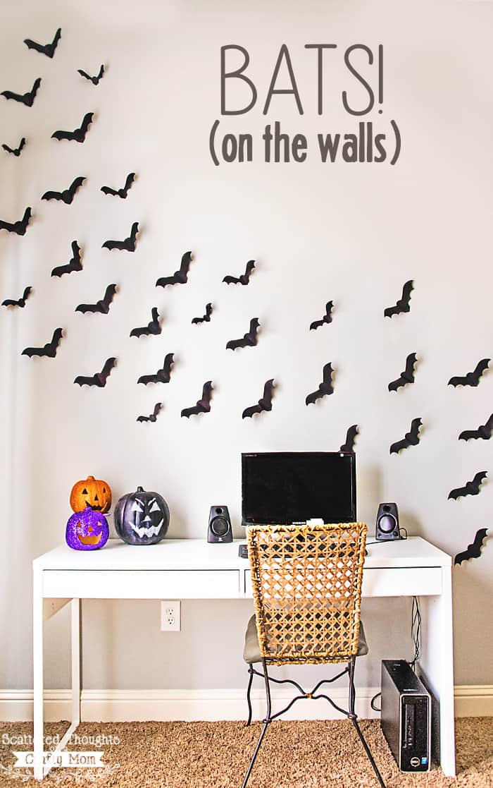 Bats on the Wall!  This free Paper Bat Template is a perfectly spooky Halloween decorating project. (free bat template)