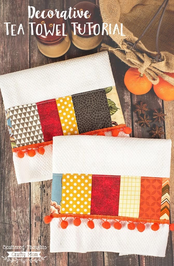 Learn how to make these DIY Decorative Tea Towels. These towels area fabulous way to use up all fabric scraps and add a little color to your decor!