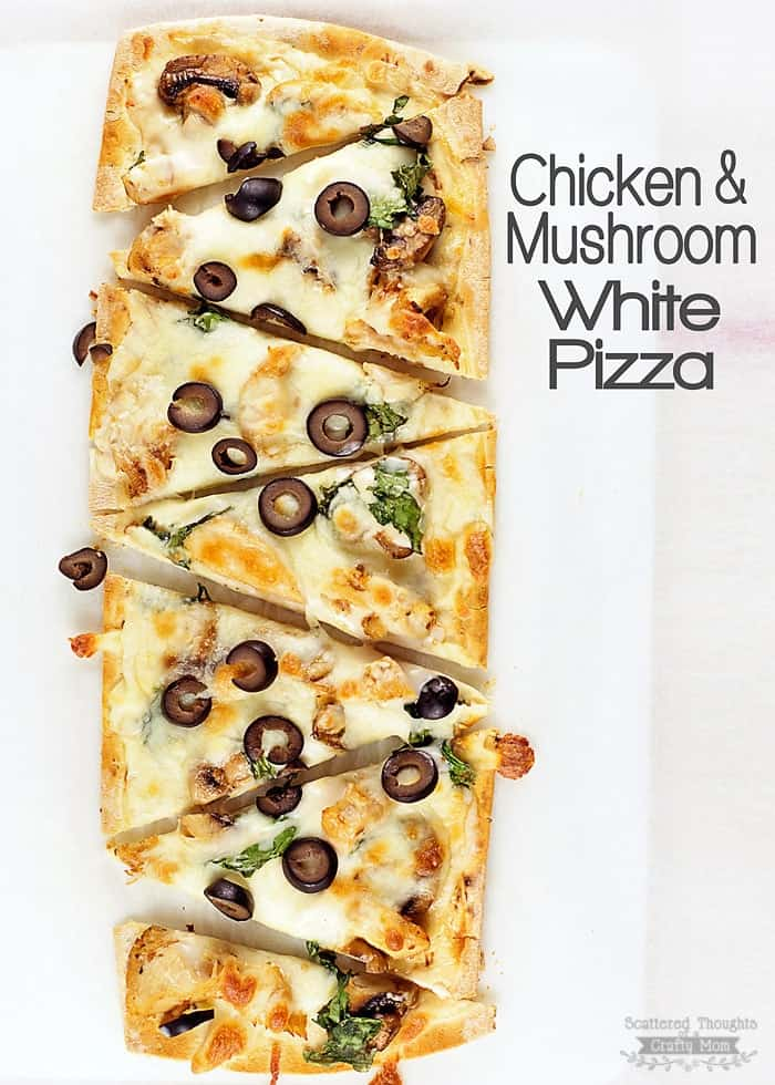 You have got to try this Chicken and Mushroom White pizza Recipe. The flavors of alfredo, sauteed mushrooms, garlic and chicken come together to make one delicious pizza!.