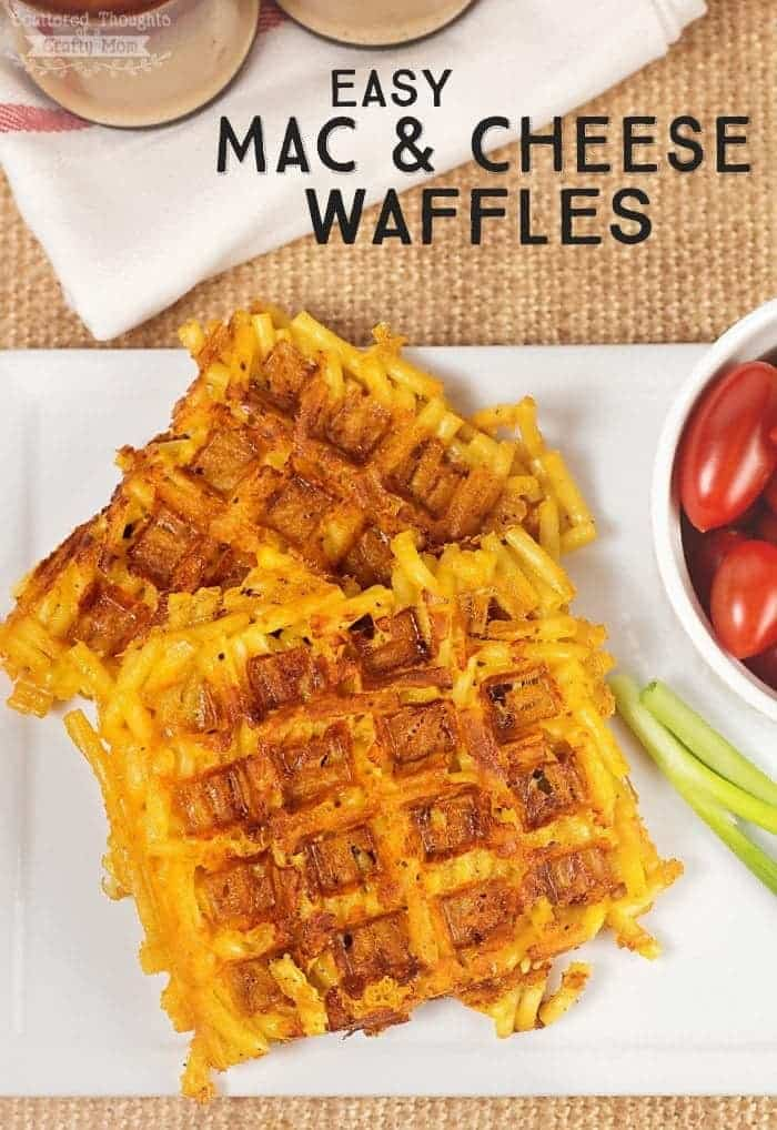 Mac and cheese cooked on a waffle iron. ( Mac and Cheese Waffles )