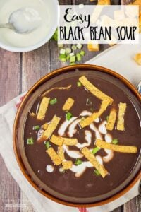 This Easy Black Bean Soup recipe is amazingly quick to make and so delicious! Perfect as a light dinner on it's own, or to complement any Mexican themed meal.