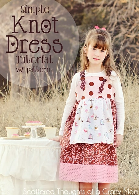 How to sew a Knot Dress pattern for girls: Free Knot Dress pattern and tutorial. This dress is super simple to sew since there are no zippers or buttons!