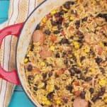 Sausage Chicken and Black Bean Paella