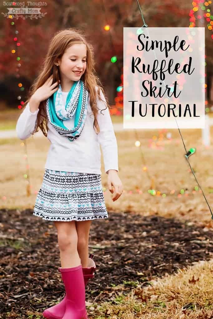 "Super Simple Ruffle Skirt Tutorial:  It's a perfect tutorial if you are looking to ""up your game"" when learning how to sew a skirt! Instructions includes measurements for sizes 3 to 10."