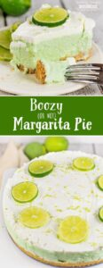 This Margarita Pie tastes like a frozen margarita- only better! The tangy flavors of lemon and lime combined with ice cream make for a sweet margarita flavored pie that can't be beat! Add a bit of tequila for an authentic margarita taste or leave it out for everyone to enjoy!