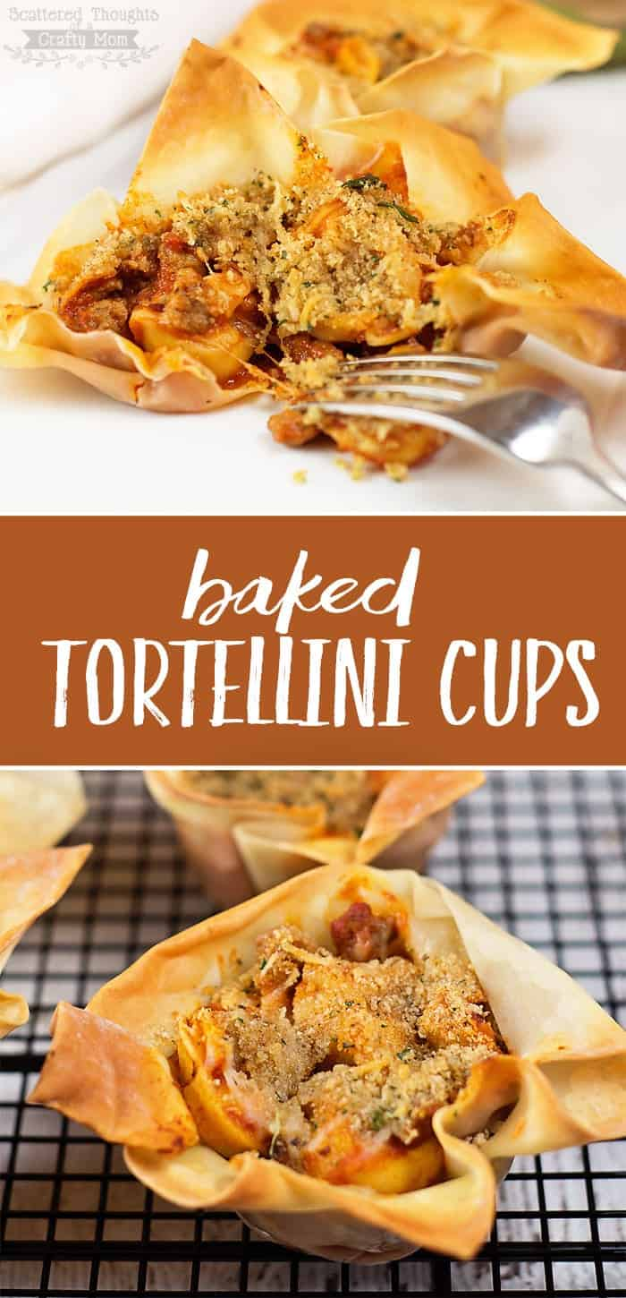 Need a eye-catching appetizer for your next get-together? These Baked Tortellini cups are made with frozen tortellini, sausage crumbles and pre-made wonton wrappers, so you can have this delicious cupcake size-tortellini dish ready to go in just a few minutes! (Kids go crazy for them too!)