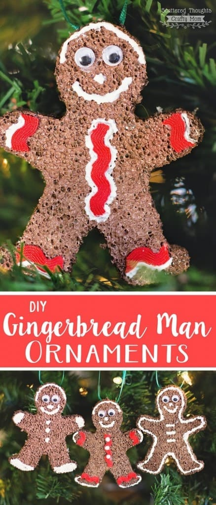 Christmas Ornament Craft: Dress up your tree with these cute handmade Gingerbread Man Ornaments. (So easy to make!)