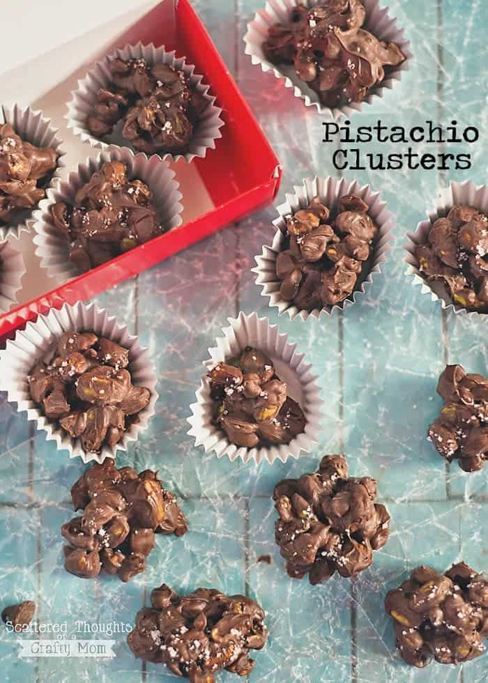 This Pistachio Cluster recipe takes just a moment to put together, plus they look and taste amazing!  Pack them up in a pretty box and they make a perfect holiday treat or gift.