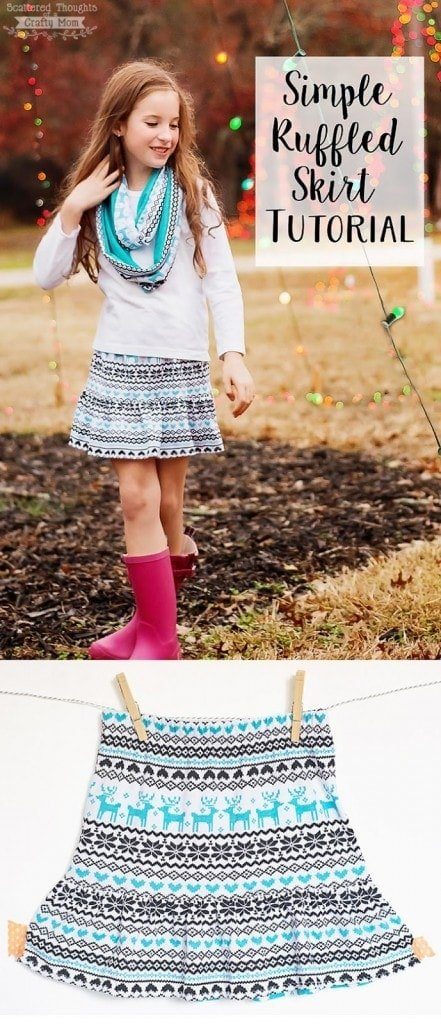 """Sharing this Super Simple Ruffle Skirt Tutorial today! It's a perfect tutorial if you are looking to """"up your game"""" when learning how to sew a skirt (instructions include measurements for sizes 3 to 10.)"""