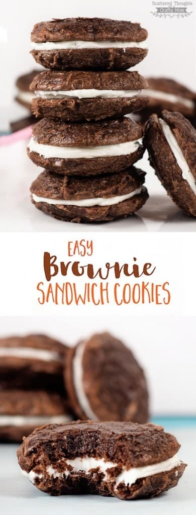 These Easy Brownie Sandwich Cookies are the perfect treat for a party (or anytime.) They are super easy to make since they are made using a boxed brownie mix!