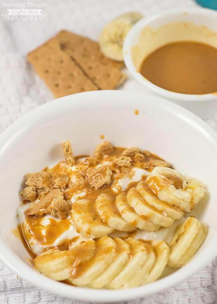 peanut butter banana bread yogurt bowl