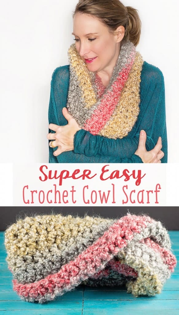 This easy to crochet, simple cowl scarf is made with a chunky home-spun style yarn and done in a double crochet stitch.  It is such a quick project, you'll have it finished in just an hour or so and be wearing it before you know it!