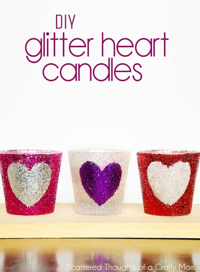 DIY Glitter Heart Candles