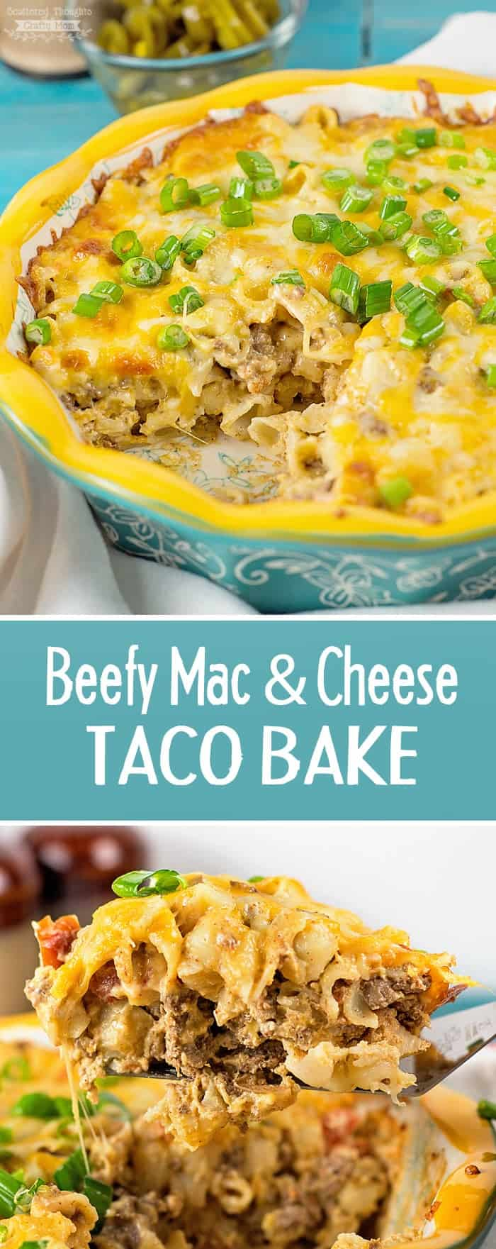 This Beefy Mac and Cheese Taco Bake is stuffed full of cheese and delicious Southwest flavors. The casserole is definitely a family pleaser- guaranteed to fill up even the hungriest belly!