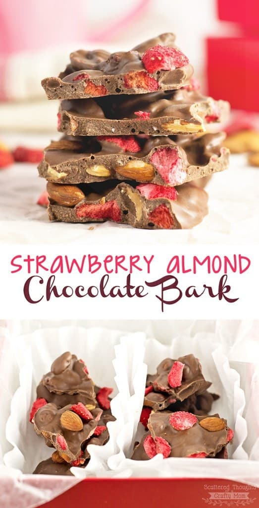 Super Easy to make Valentines Day Treat: Strawberry and Toasted Almond Chocolate Bark.