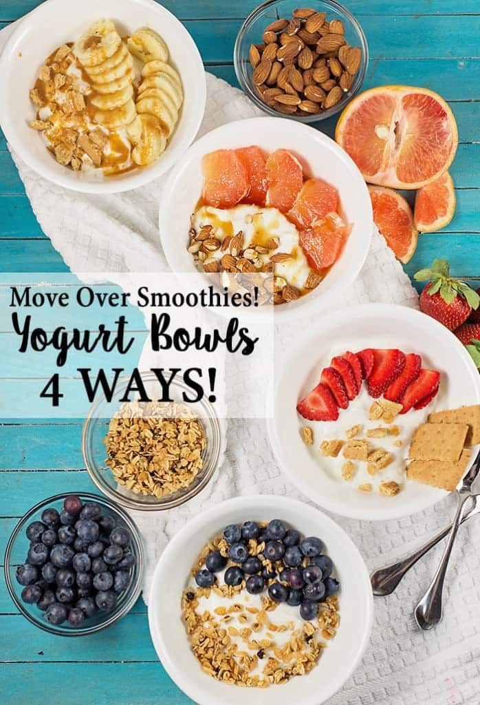 Move over Smoothies- there is a new snack in town- Yogurt Bowls! You'll love the delicious taste and endless combinations you can make with just yogurt, fruit, nuts and a few other add-ins. (My favorite is the peanut butter banana bread bowl.)