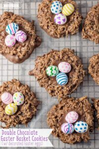 The coconut and chocolaty deliciousness of these Double Chocolate Easter Basket Cookies make them perfect for any spring and Easter celebrations!