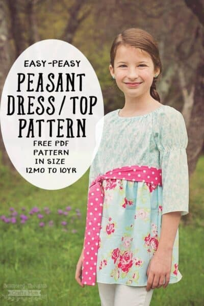 Sew this adorable Peasant Dress/Top for your little one! Printable pdf pattern is free and comes in sizes 12 months to 10yrs and includes a step by step tutorial.