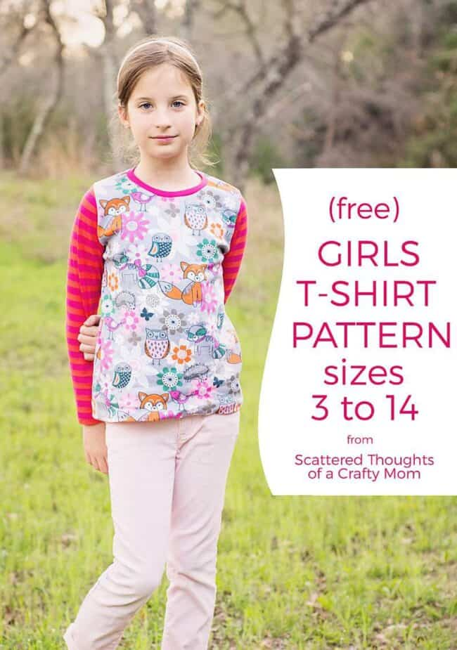 Free Girls T-shirt Pattern, size 3 to 14 (how to sew a t-shirt)