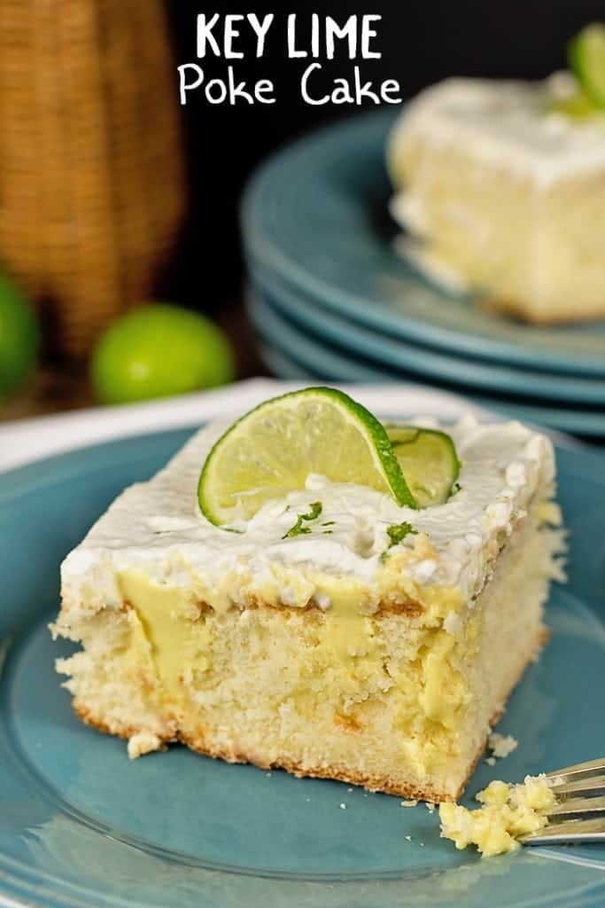 Tangy lime flavors and yummy vanilla cake blend together deliciously in this Key Lime Poke Cake Recipe. This easy to make cake is just perfect for family get-togethers or potlucks!