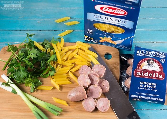 Barilla Gluten free pasta and aidells chicken and turkey pasta