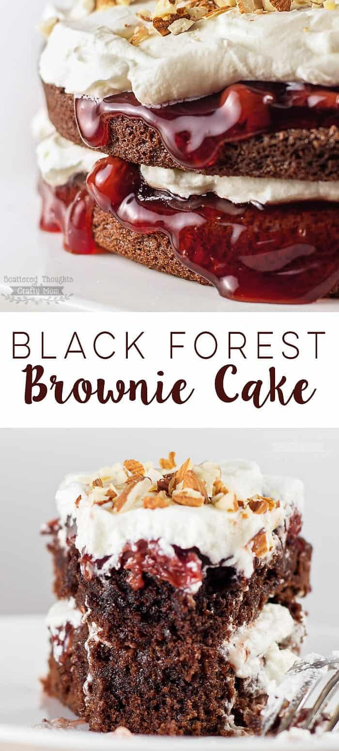 If you love brownies, you'll love this fun and deliciously decadent twist on a Black Forest Cake! Made with two layers of brownies, cherry pie filling and whipped cream this Black Forest Brownie Cake is so rich and delicious- it will knock your socks off!