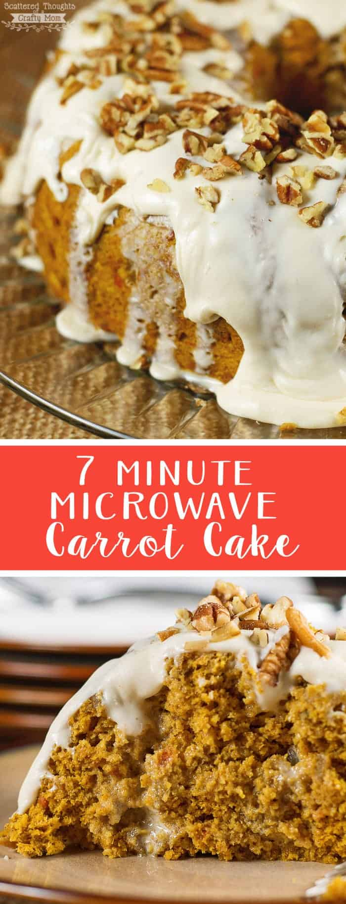 Super simple 7 Minute Microwave Carrot Cake Recipe.