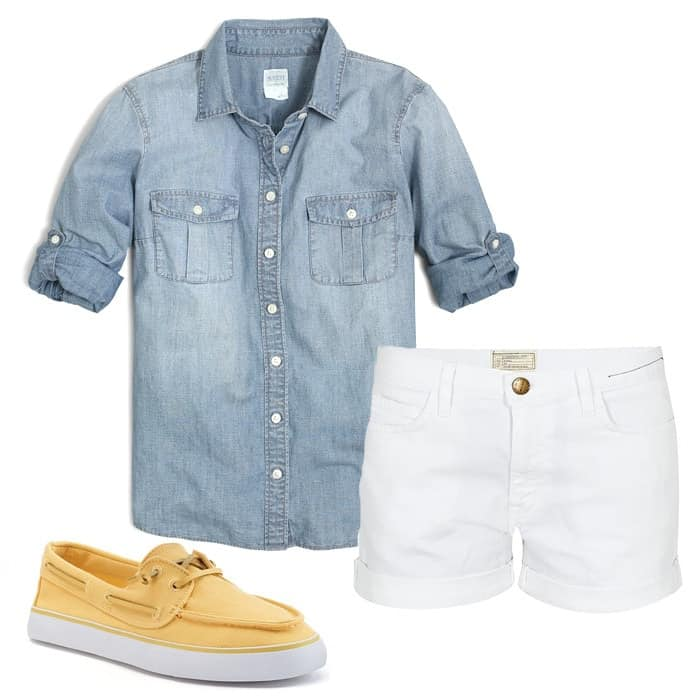 chambray button down white shorts