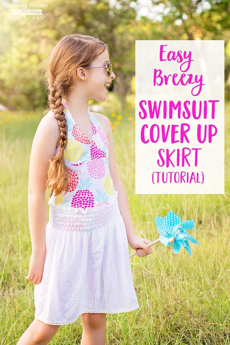 Learn how to sew an easy swimsuit cover up skirt with this easy to follow sewing tutorial.
