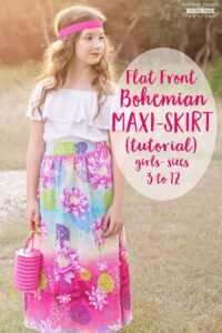 This Flat Front Bohemian Maxi Skirt Tutorial is the perfect skirt to sew for your little fashionista/tween!