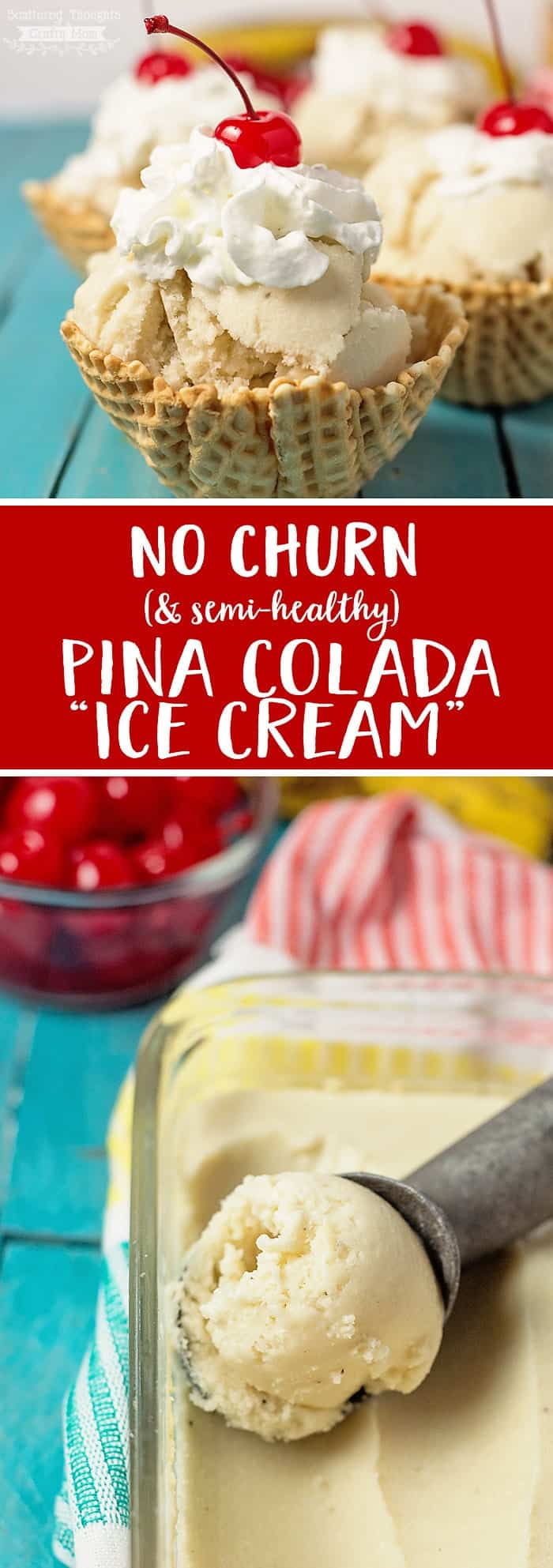 "This Piña Colada ""Ice Cream"" is easy to make, (no ice cream maker needed) low in sugar, and makes a fabulous healthy treat for a hot summer day!"