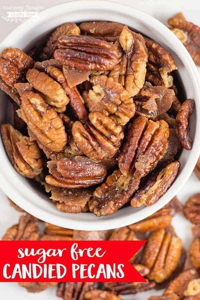 These Sugar Free Candied Pecans are the perfect keto friendly snack for those of us with a sweet tooth but trying to cut down on the sugar!