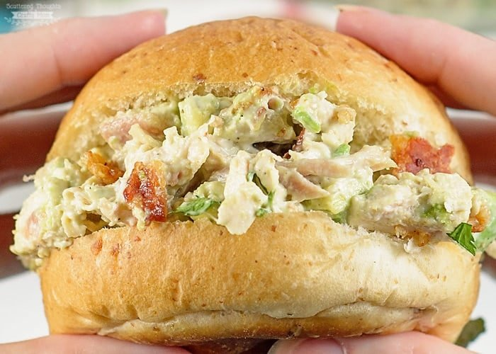 Avocado and Bacon Chicken Salad on a roll