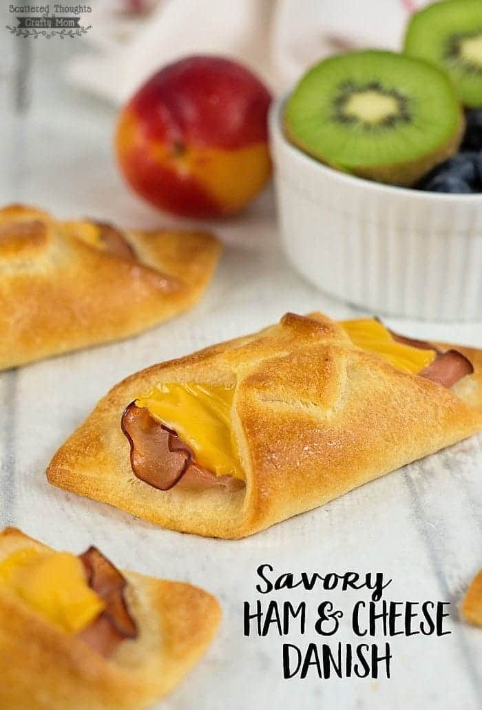 "This Savory Ham and Cheese Danish recipe is super easy to make and are perfect for a ""grab and go"" breakfast or snack!"