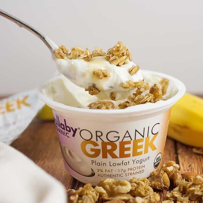 In this Banana Nut Chia and Yogurt Parfait, Chia seeds are combined with vanilla yogurt and topped with bananas and granola. Tastes just like a banana cream pie!